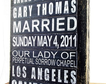 Custom Wedding Sign Personalized Special Date Wood Wedding Newlywed or Anniversary Gift Idea Subway Art Sign Wedding Decor Married Sign