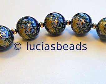 NEW Set of Japanese Tensha Beads Blue and Yellow Roses on Navy 12 MM