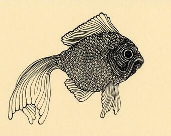 Goldfish Illustration Screenprint 4x6