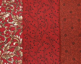 Fabric for Quilting Sewing or Crafts 100% Quality Cotton 3 Fat Quarters of Red Medium & Small Prints