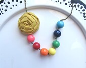 Rainbow statement necklace fabric flower beaded