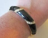 Vintage Black Enamel & Rhinestones Hinged Bangle Bracelet