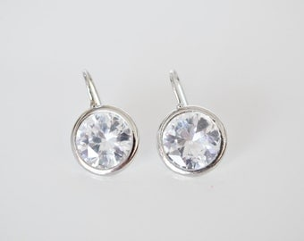 ON SALE Rhodium plated clear Cubic Zirconia Earrings
