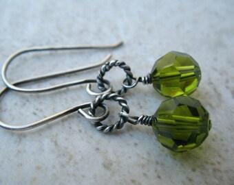 Green Earrings Sterling Silver Beaded Jewelry  Swarovski Crystal Earrings
