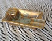 Stengl Handpainted Antique Gold Vintage Ashtray
