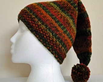 Knit Adult Stocking Hat, Ski Hat, Taboggan Hat in Autumn Colors
