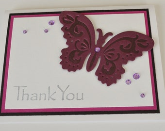Butterfly Thank You Card, Letterpress Die Cut Butterfly, Purple Black and White Handmade Card, 3D Card, Braille Message