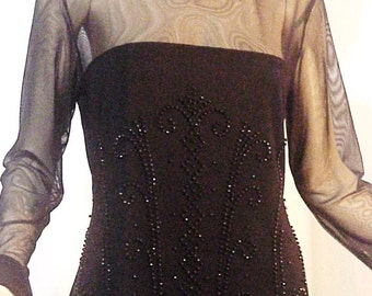 Little Black Cocktail Dress, Sheer Illusion, Beaded Jet, Fairy Hem, Size L