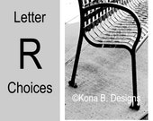 Letter R  -  Alphabet Photography  -  4x6 Photo Letter -  Unframed - Black and White or Sepia