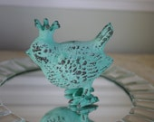 Cottage Decor Cast Iron Royal Bird with Crown - Blue Green Patina