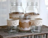 Burlap and lace mason jars / rustic wedding / country wedding / vase - HeidieWithAnE
