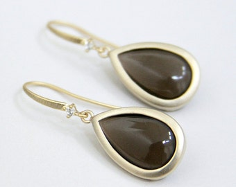 Smoky Quartz Smooth Teardrop Earrings Matte Gold with Cubic Zirconia