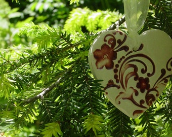 Ivory and Dark Red, Flowers & Flourishes Embellished Ceramic Heart - Wedding or Christmas Ornament
