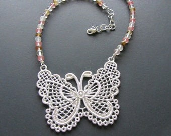 Silver Butterfly Pendant Necklace with Watermelon Tourmaline Beads, OOAK