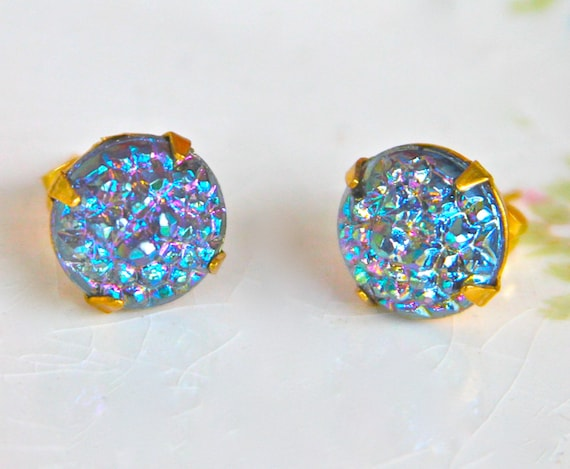 Vintage Sapphire Blue Sparkle Glitter Gold Round Iridescent Montana Blue Post Earrings - Wedding, Bridesmaids