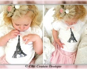Eiffel Tower Screen Printed Tee Top Tshirt. Baby Girl / Toddler Tee / T-Shirt. Big Sister Little Sister Matching, Paris Birthday Party