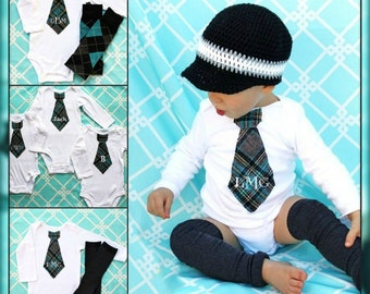 Baby Boy Preppy Little Man Plaid Set of Leg Warmers & Monogrammed / Personalized Tie Bodysuit Gray / Grey, Black, Aqua, Teal. Coming Home