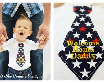 "Baby Boy Personalized ""Welcome Home Daddy"" Tie Bodysuit.  Military Return, USA Proud, Army, Air Force, Marines. Home from Deployment reunion"