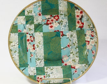 Asian Style Decoupaged Glass Plate: Spring Morning