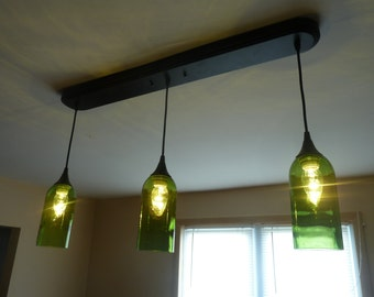 Green Wine Bottle 3 Pendant Light Billiards Table Kitchen Bar