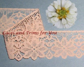 Peach Lace Trim 10/20 Yards Woven Scalloped 2 inch wide Lot N40A Added Items Ship No Charge