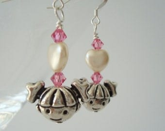 Little Girl Earrings Mother Daughter Valentine's Day Heart with Swarovski Crystal Elements