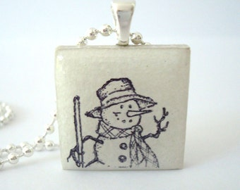 Winter Jewelry Snowman Ceramic Tile Pendant Necklace Rubber Stamped Recycled Tile