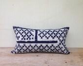 "Vintage Textile Tribal Design Hmong Indigo Batik Cushion Cover 12"" x 22"" Decorative Throw Pillow"