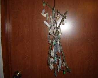 Freeform Windchime/WIndcatcher of Branches & Shells with green Acrylic Beads