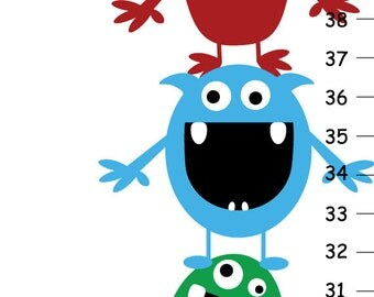 Personalized Monsters Canvas Height Chart
