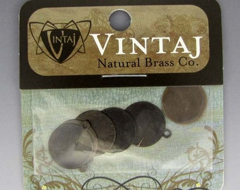 Vintaj Altered Art 12mm Patinated Brass Circle Disks Package of 6