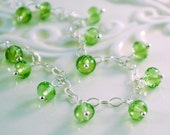 Reserved - Genuine Peridot and Aquamarine Bracelet, Sterling Silver, Lime Green Dangles, August Birthstone, Gemstone Jewelry, Free Shipping