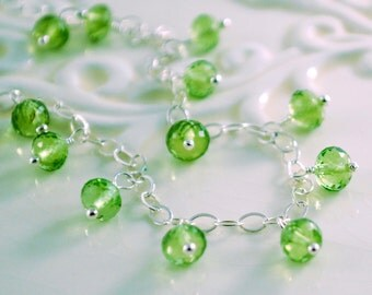 Genuine Peridot Bracelet, Sterling Silver, Lime Green Dangles, August Birthstone, Gemstone Jewelry, Free Shipping