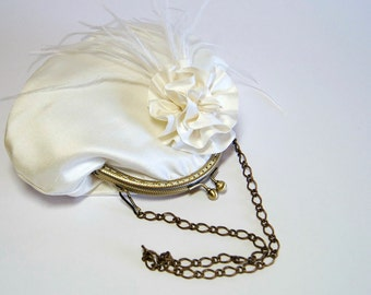 Ostrich Silk Purse  In Ivory, Bridal Purse, Wedding purse, Flower Girl Purse