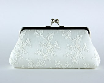 Alencon Lace  Silk Clutch in WHITE or IVORY,  wedding clutch, wedding bag, Bridal clutch