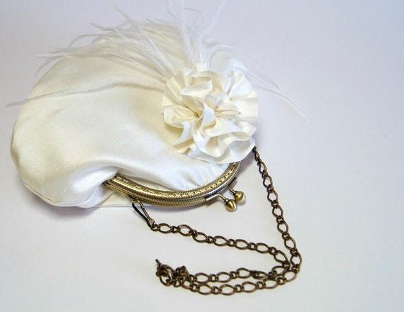 Ostrich Silk Purse  In Ivory, Bridal Purse, Wedding purse, Flower Girl Purse