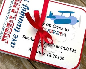 Printable Little Aviator Invitation Set for Airplane Themed Birthday Parties