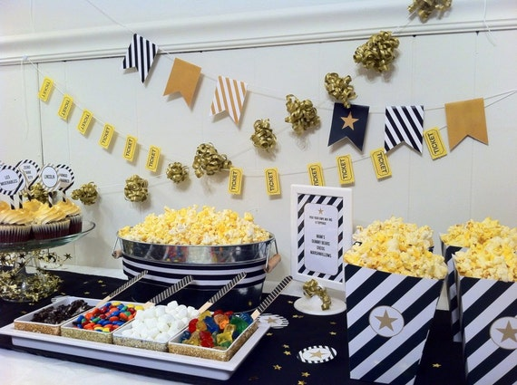 Movie Night Printables With Popcorn Bar Oscars Night
