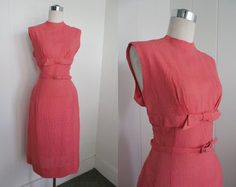 1960s Vintage Red Gingham Wiggle Dress  with Belt VLV