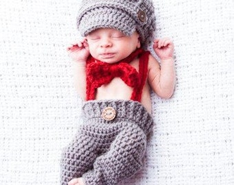Baby BOY Hat Set - 3 Piece Newsboy Longie Pant Set w Suspenders - PHOTO Prop - Made to ORDER - Newborn - Gray and Red