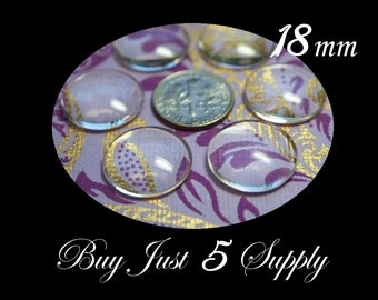 18mm Crystal Clear DOME Glass Cabochons... 10 Waiting For Your Creativity...Great for Pendants, Refrigerator Magnets, more