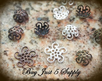 Filigree Embellishment - Spiral Bead Cap - 25 for You - 3 Finishes to Choose from - For Jewelry, Metal Riveting, Scrapbooking....