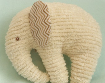 Stuffed Chenille Elephant, Ivory, ears are Brown Chevron Print