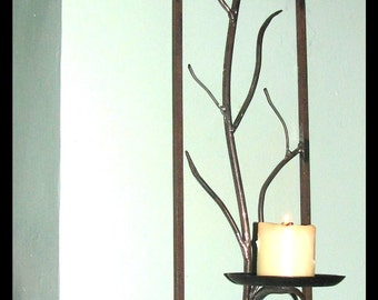 Hand Forged Iron Tree Branch Candle Sconce by VinTin (Item # C-403)