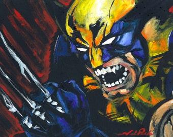 Wolverine X-Men Logan - Original Painting Reproduction PRINT - Black - Pop Art - Comic Illustration Style