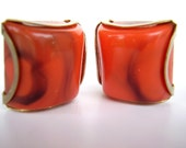 Vintage Square Earrings Peach Orange Smokey Resin - Clip Ons