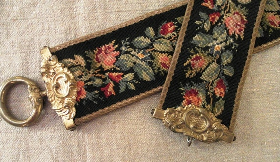 Antique Bell Pull Victorian Needlepoint Amp Ornate Brass