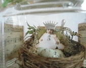 RESERVED FOR MARY Fairy Jar, Winter Nest, Sewing Nest