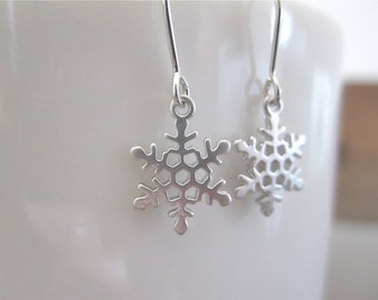 White Gold Snowflake Earrings