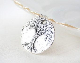 Sterling Wisdom Tree Necklace - Simple everyday symbolic jewelry